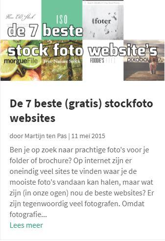 Blog over websites met rechtenvrije foto's